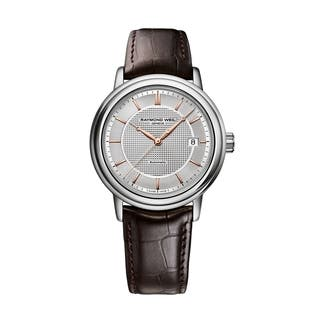 Raymond Weil Men's 2837-SL5-65001 Maestro Leather Automatic Watch|https://ak1.ostkcdn.com/images/products/9443887/P16629358.jpg?impolicy=medium