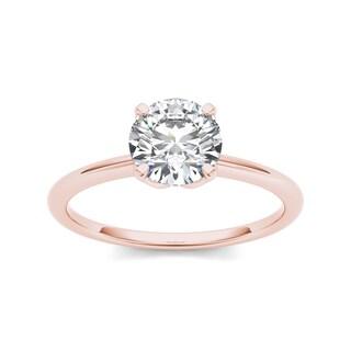 De Couer 14k Rose Gold 1ct TDW Diamond Solitaire Ring