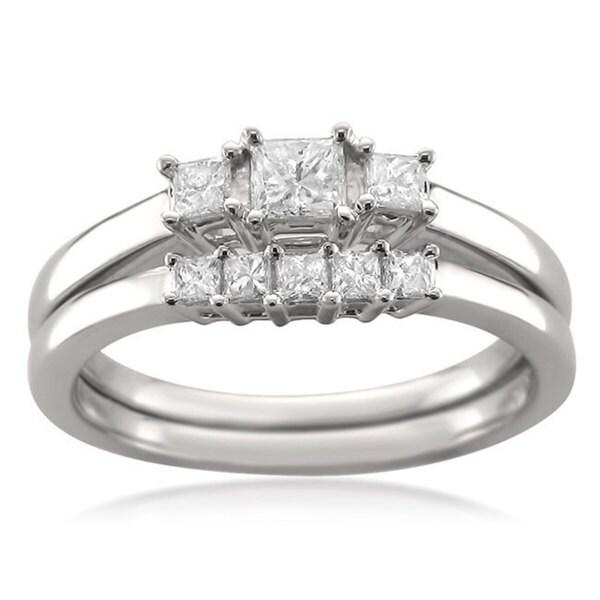 Montebello 14k White Gold 1/2ct TDW Princess-cut Diamond Bridal Ring Set