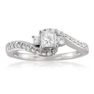 Montebello 14k White Gold 1/2ct TDW Princess-cut 3-stone Diamond Ring