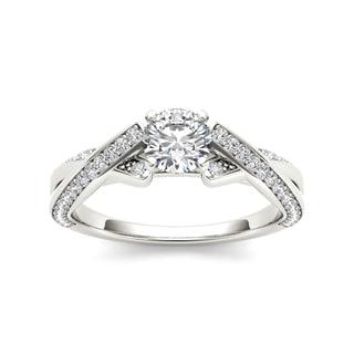 De Couer 14k White Gold 1ct TDW Diamond Twist Engagement Ring (H-I, I1-I2)