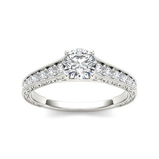 De Couer 14k White Gold 1 1/5ct TDW Diamond Vintage Engagement Ring (H-I, I2)
