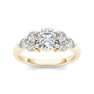 De Couer 14k Yellow Gold 2ct TDW Diamond Engagement Ring (H-I, I1-I2)