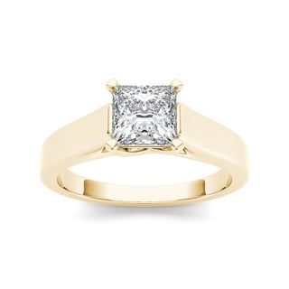 De Couer 14k Yellow Gold 1 1/4ct TDW Diamond Princess-cut Solitaire Ring