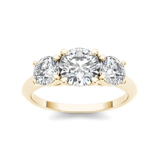 De Couer 14k Yellow Gold 2ct TDW 3-stone Diamond Ring
