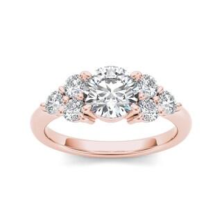 De Couer 14k Rose Gold 2ct TDW Diamond Ring