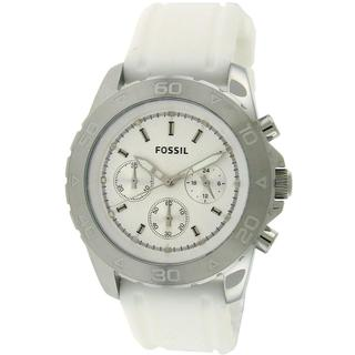 Fossil Men's BQ1179 Chronograph White Rubber White Dial Watch