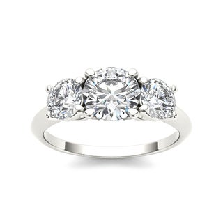 De Couer 14k White Gold 2ct TDW Diamond 3-stone Engagement Ring