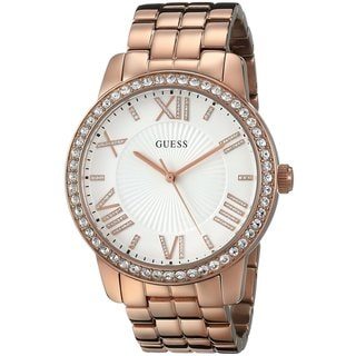 Guess Women's U0329L3 Rose Goldtone Oversized Crystal Watch
