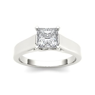 De Couer 14k White Gold 1 1/4ct TDW Diamond Princess Cut Solitaire Engagement Ring