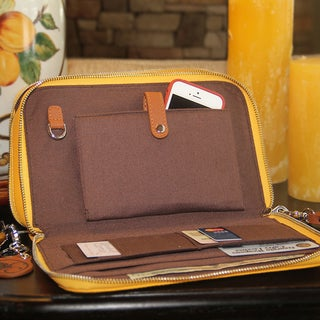 Concealed Carrie Casual Compact Carrie Mustard Leather Clutch (As Is Item)
