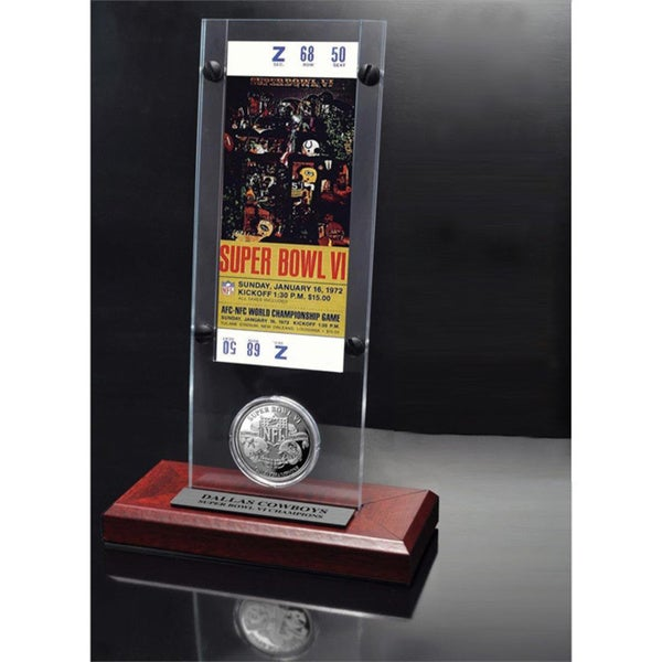 NFL Super Bowl 6 Ticket and Game Coin Collection