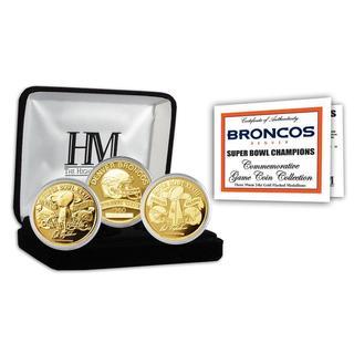 NFL Denver Broncos 3-time Super Bowl Champions Gold Game Coin Set