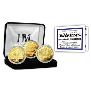 NFL Baltimore Ravens 2-time Super Bowl Champions Gold Game Coin Set