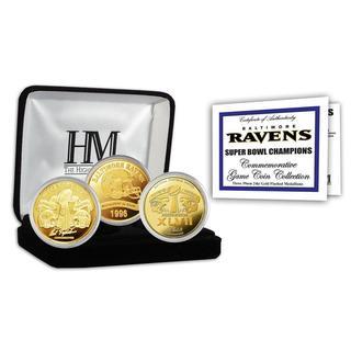 NFL Baltimore Ravens 2-time Super Bowl Champions Gold Game Coin Set