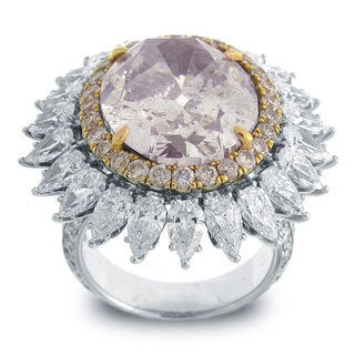 Azaro 18k White Gold 19ct TDW Oval-cut Certified Pink Diamond Ring, Size 6.5 (GIA)