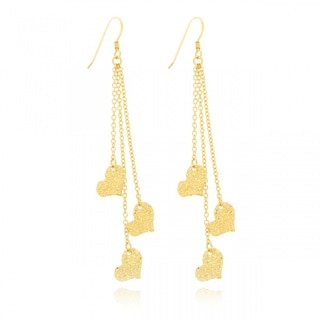 Belcho Gold Overlay Hammered Hearts Dangle Chain Earrings