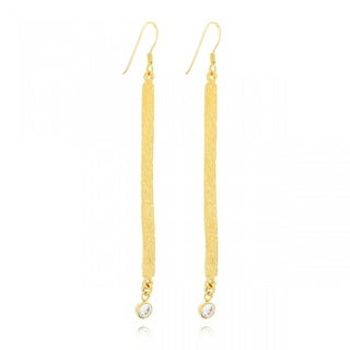 Belcho Gold Overlay Cubic Zirconia Dangle Earrings
