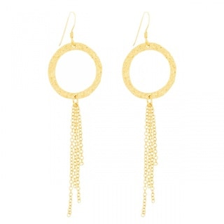 Belcho Hammered Ring Dangle Chain Hook Earrings