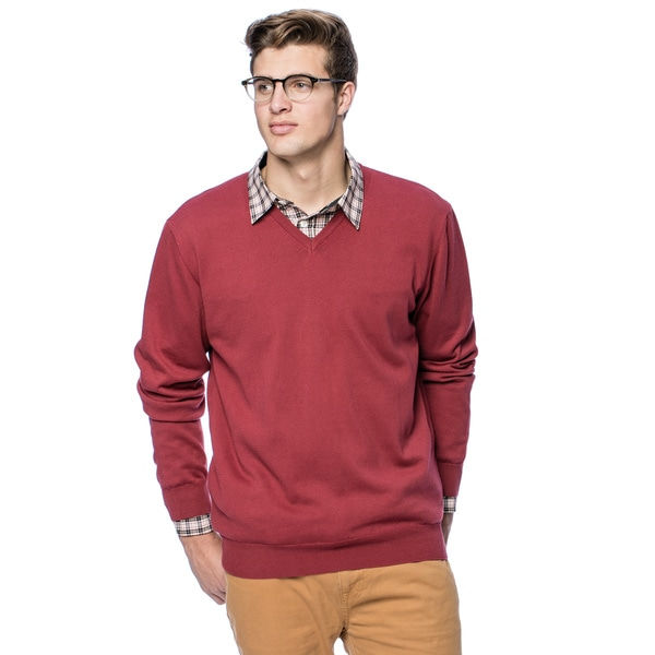 Enzo Mantovani Men's Italian Cotton V-neck Sweater - Free Shipping ...