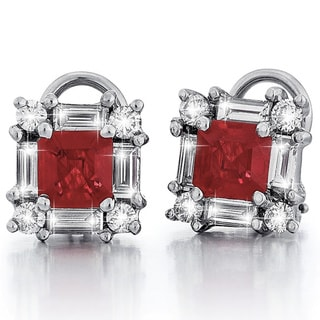 18k White Gold Ruby Diamond Earrings