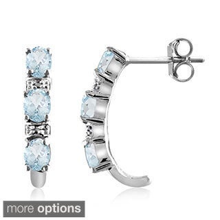 Blue Aquamarine and Diamond Accent Earrings