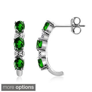 Diopside and Diamond Accent Earrings - Green