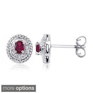 Sterling Silver Red Ruby and Diamond Accent Earrings