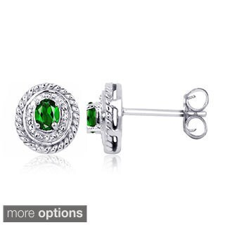 Sterling Silver Diopside Gemstone and Diamond Accent Earrings