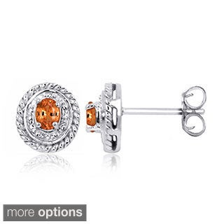 Sterling Silver Mandarin Garnet Gemstone and Diamond Accent Earrings