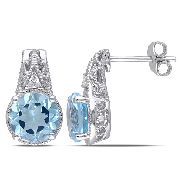 Miadora Sterling Silver 4 3/4ct TGW Blue Topaz and Diamond Accent Stud Earrings