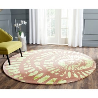 Hand Tufted Plum Apricot Wool Cotton Rug 6 Round