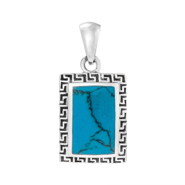 Blue Turquoise Greek Key Frame .925 Silver Charm Pendant (Thailand). Opens flyout.