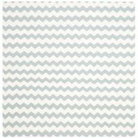 Safavieh Hand-woven Reversible Dhurries Ivory/ Blue Wool Rug - 6' Square