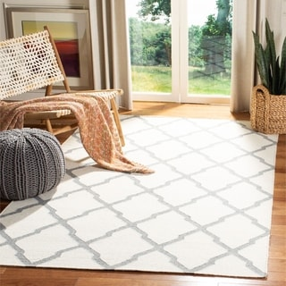 Safavieh Hand-woven Reversible Dhurries Ivory/ Grey Wool Rug (6' Square)