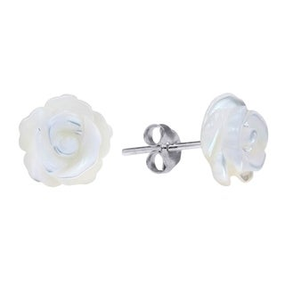 Rose of Innocence Carved MOP .925 Silver Earrings (Thailand)