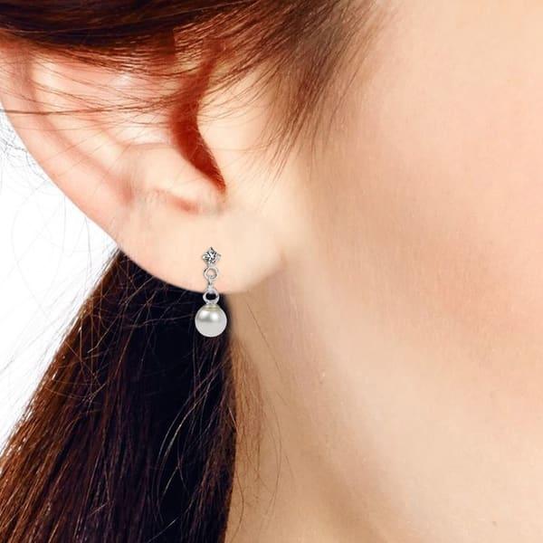 Handmade Pearl Sterling Silver X-Long Drop Earrings