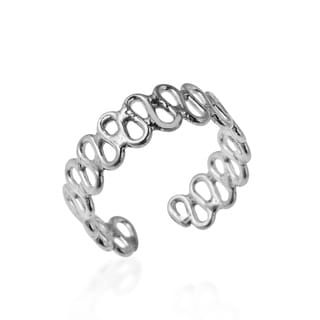 Simple Wavy Line .925 Sterling Silver Toe or Pinky Ring (Thailand)