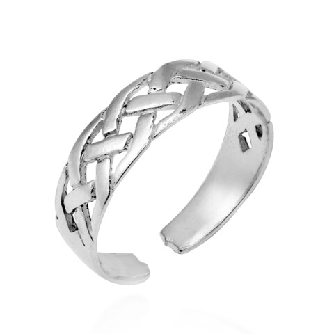 Handmade Interwoven Celtic Knot Sterling Silver Pinky or Toe Ring (Thailand)