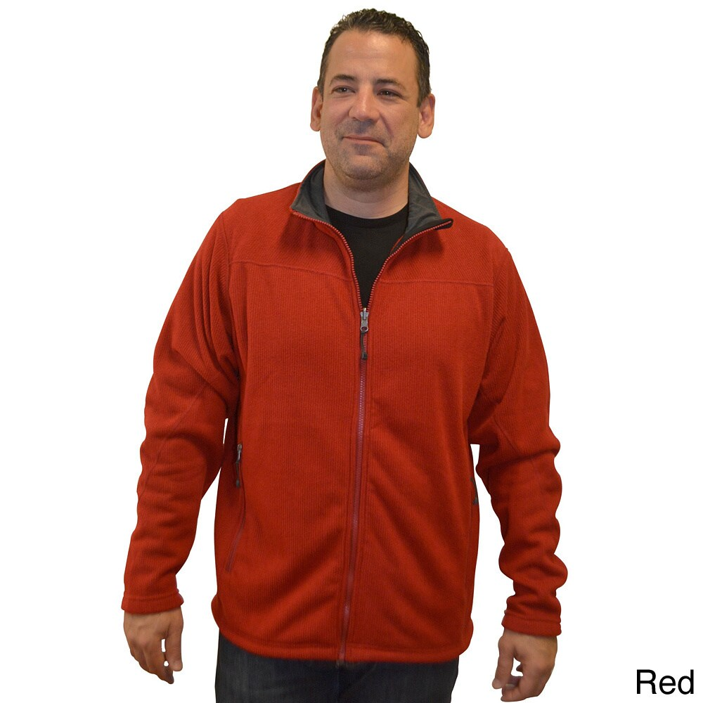 Basic Spiral Men's Polartec Wind Pro Fleece Jacket (RED, S)