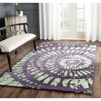 Safavieh Handmade Capri Modern Abstract Lavender/ Sage Wool Rug - 4' x 6'