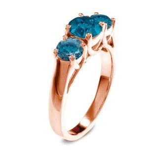 Auriya 14k Rose Gold 2ct TDW Diamond Three-stone Ring (Blue, I1-I2)