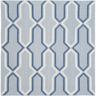 Safavieh Hand-woven Moroccan Reversible Dhurries Light Blue/ Dark Blue Wool Rug (6' Square)