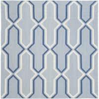 Safavieh Hand-woven Moroccan Reversible Dhurries Light Blue/ Dark Blue Wool Rug - 6' Square