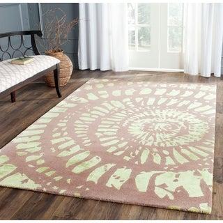 Safavieh Handmade Capri Modern Abstract Plum/ Mist Wool Rug (4' x 6')