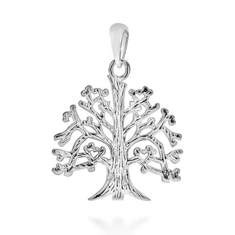 Handmade Sterling Silver Textured 'Tree of Life' Branches Root Charm Pendant (Thailand)