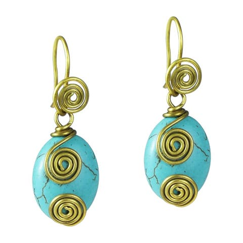 Handmade Brass Romantic Swirl Oval Turquoise Dangle Earrings (Thailand)