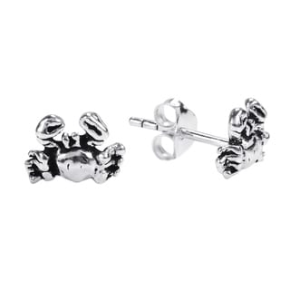 .925 Sterling Silver Petite Adorable Summer Crab Stud Earrings (Thailand)