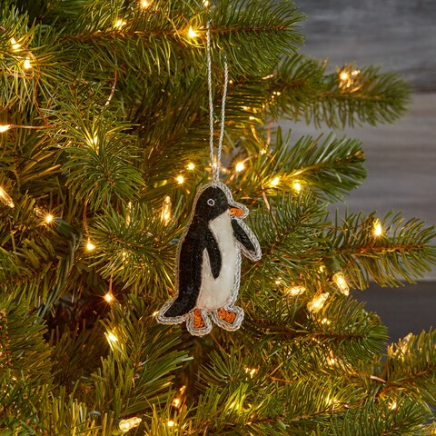 Handmade Sequined Black and White Penguin Ornament (India)
