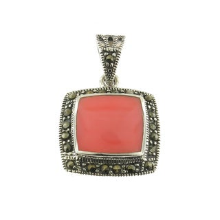 Handmade Sterling Silver Pink Coral in Marcasite Bezel Pendant (Thailand)